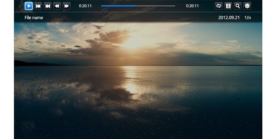 Example of a media player (full screen)