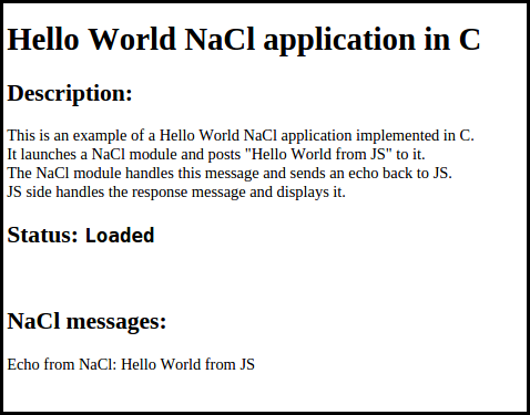 Figure 1. Hello World in C application