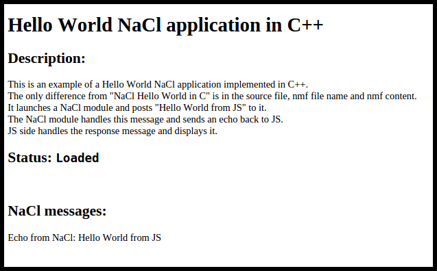 Figure 1. Hello World in C++ application