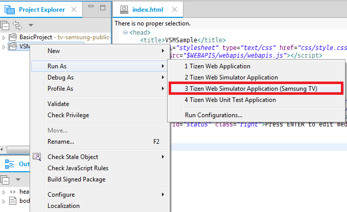 Figure 1. Launching an application from the IDE
