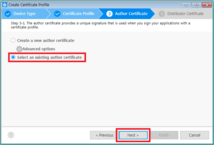 Figure 11. Import existing author certificate