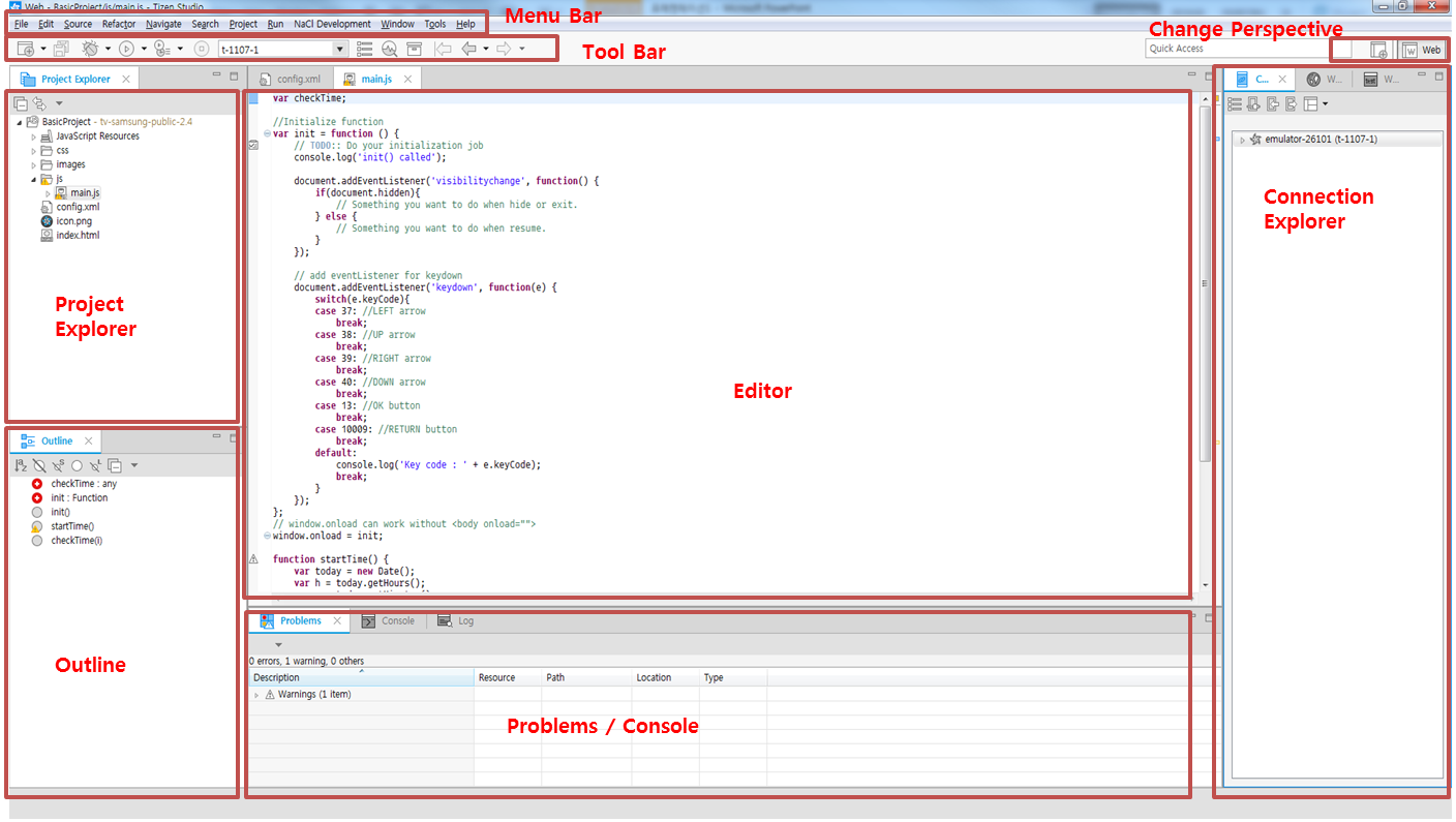 Figure 1. Samsung TV SDK IDE interface
