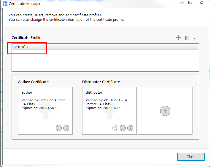 Figure 3. Certificate profile name