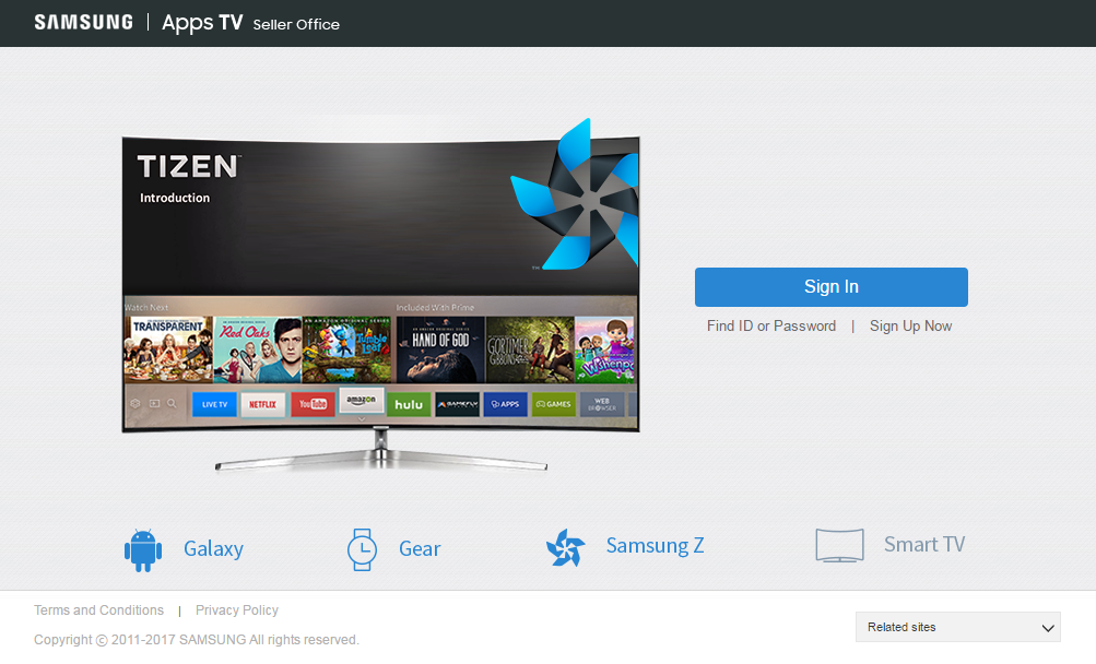 Figure 2. Samsung Apps TV Seller Office Home Page