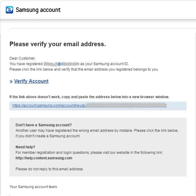 Figure 4. Samsung Account Verify Email Example