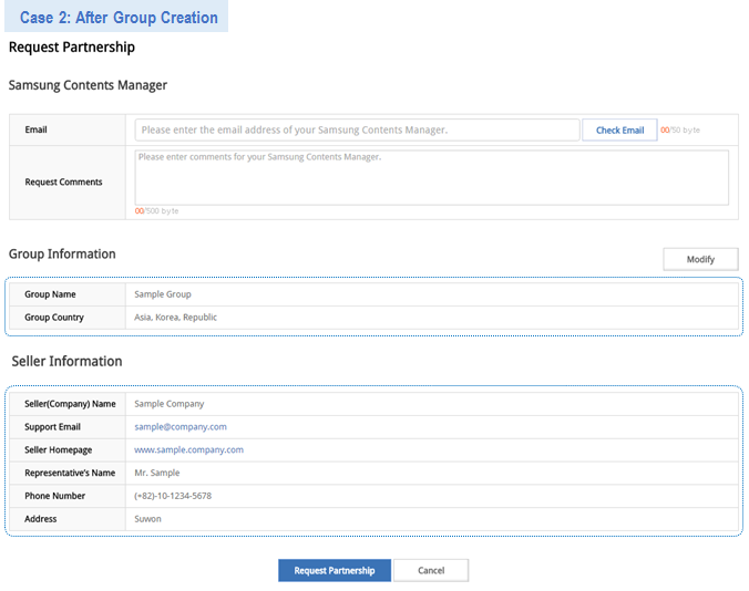 Figure 4. Partnership Request Form after Group Creation