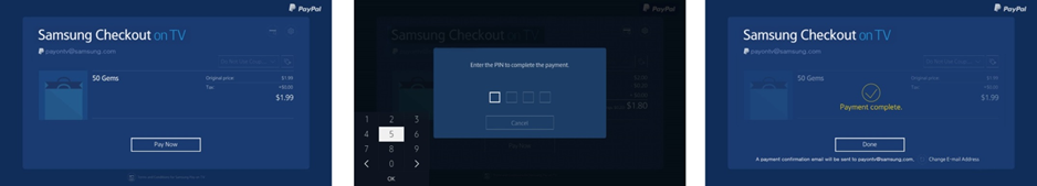 Figure 1. 3-step checkout: Confirm > Provide PIN > Done