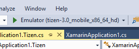 Figure 5. Emulator in Visual Studio toolbar