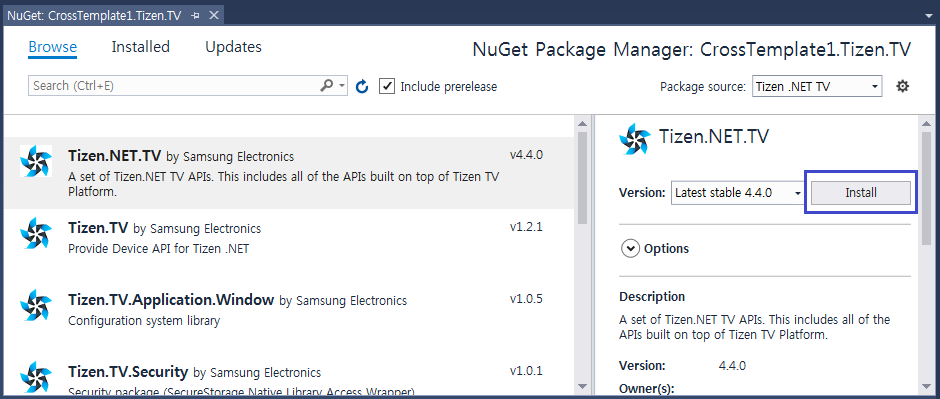 Figure 6. Install the NuGet package