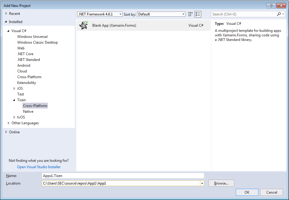 Figure 16. Tizen application project creation