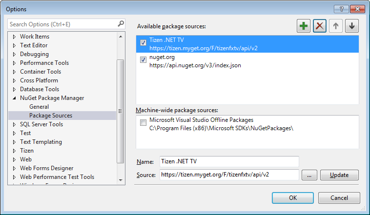 Figure 5. Adding the package source