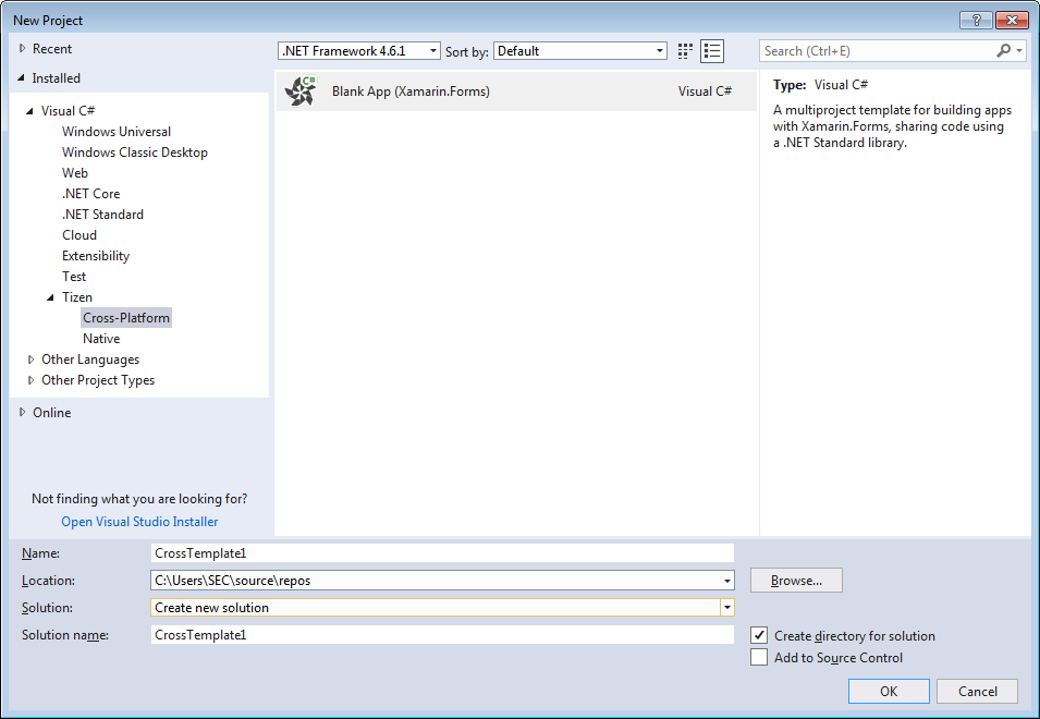 """Figure 2. """"New Project"""" dialog"""