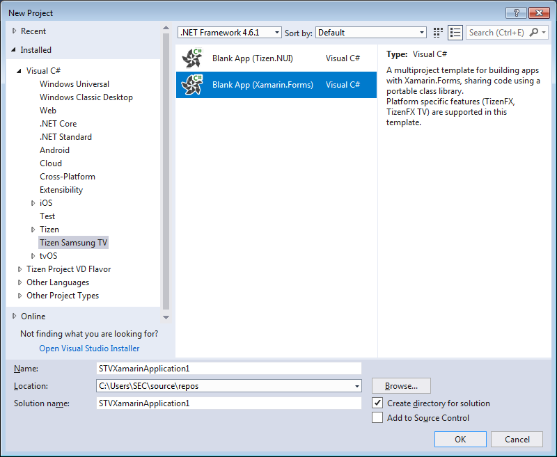 "Figure 2. ""New Project"" dialog"