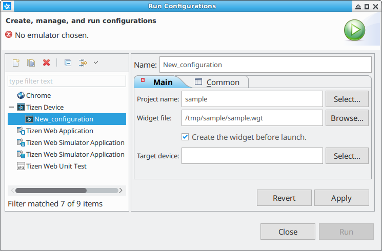 Figure 3. Device launch configuration