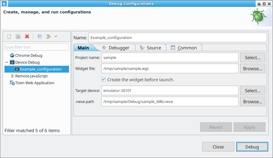 Figure 2. Device debug configuration