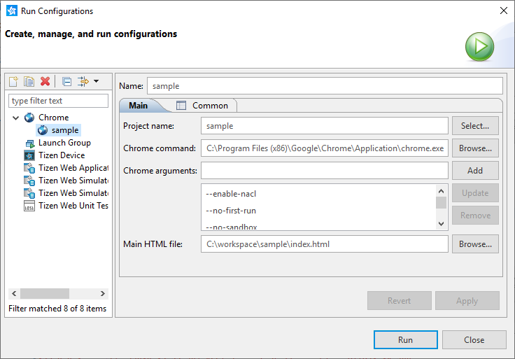 Figure 1. Chrome launch configuration