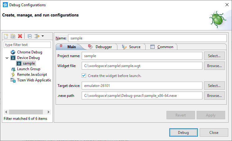 Figure 3. Device debug configuration