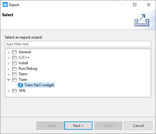 Figure 5. Select exported file type