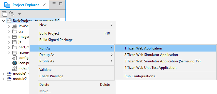 Figure 2. Run as Tizen Web application