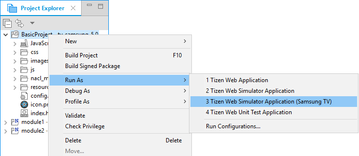 Figure 3. Run as Tizen Web simulator application