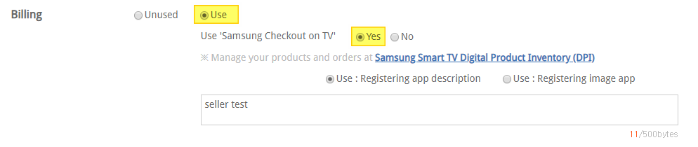 "You should tick ""Use"" and ""Yes"" to use Samsung Checkout DPI site"